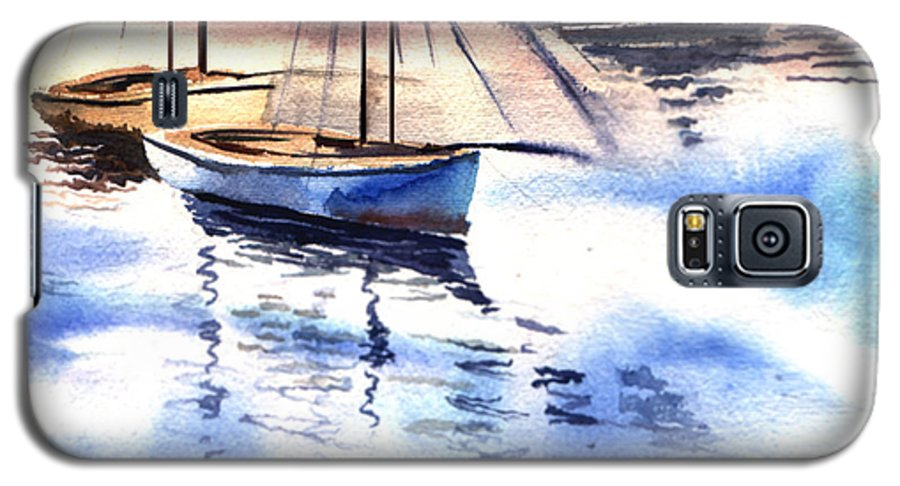 Watercolor Galaxy S5 Case featuring the painting Boat And The River by Anil Nene