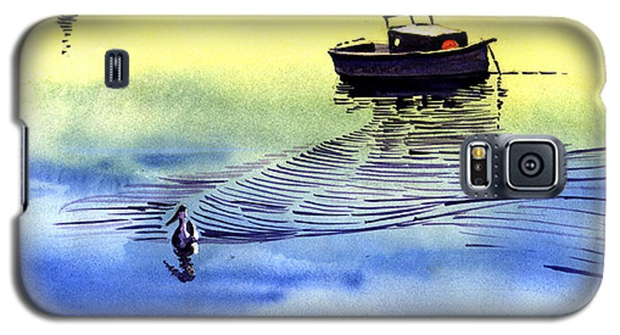 Watercolor Galaxy S5 Case featuring the painting Boat And The Seagull by Anil Nene