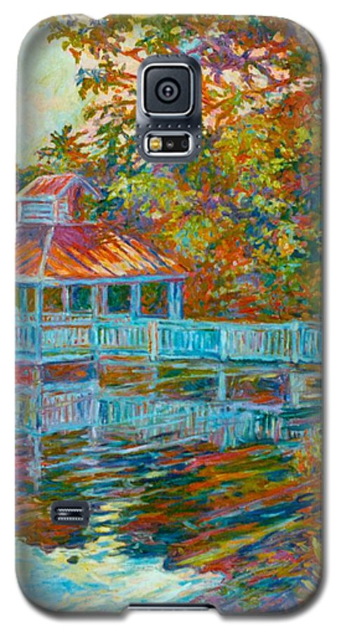 Mountain Lake Galaxy S5 Case featuring the painting Boathouse At Mountain Lake by Kendall Kessler