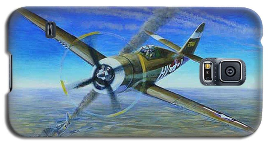 Bob Johnsons P-47 On October 10 Galaxy S5 Case featuring the painting Bob Johnsons Thunderbolt by Scott Robertson