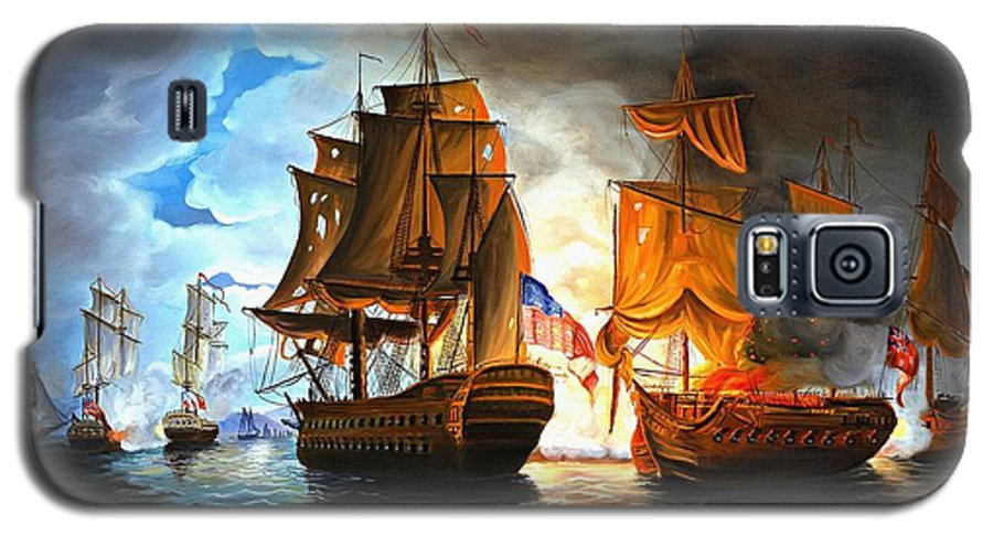 Naval Battle Galaxy S5 Case featuring the painting Bonhomme Richard Engaging The Serapis In Battle by Paul Walsh