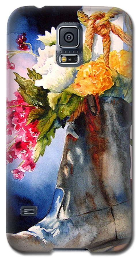Cowboy Galaxy S5 Case featuring the painting Boot Bouquet by Karen Stark