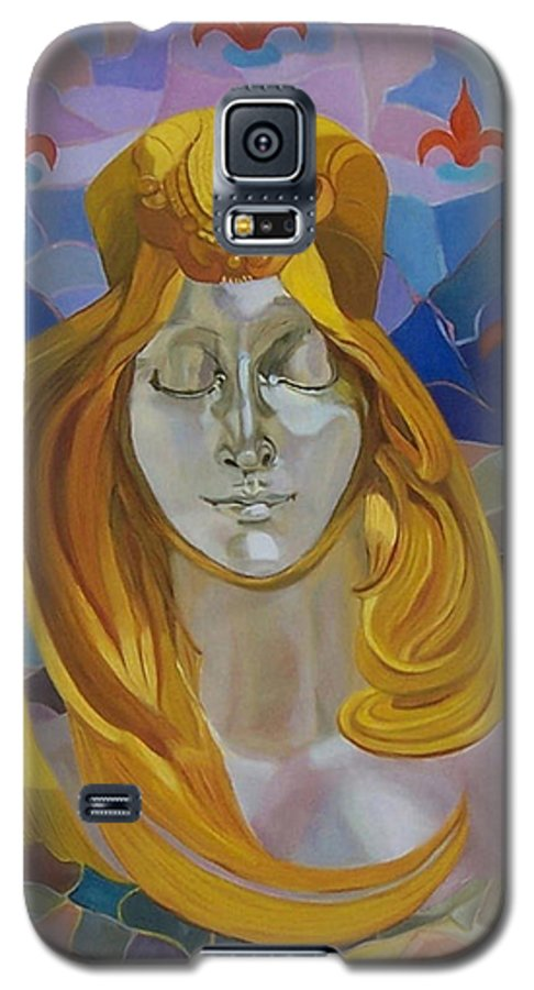 Figurative Galaxy S5 Case featuring the painting Born-after Mucha by Antoaneta Melnikova- Hillman