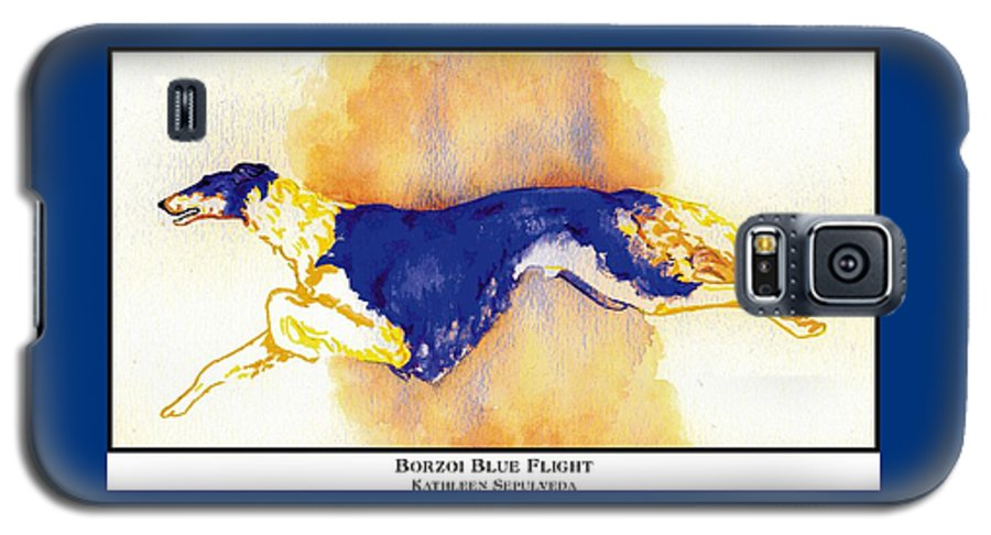 Borzoi Galaxy S5 Case featuring the digital art Borzoi Blue Flight by Kathleen Sepulveda