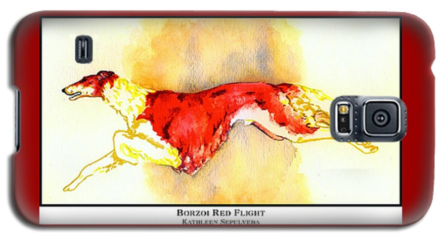 Borzoi Galaxy S5 Case featuring the digital art Borzoi Red Flight by Kathleen Sepulveda