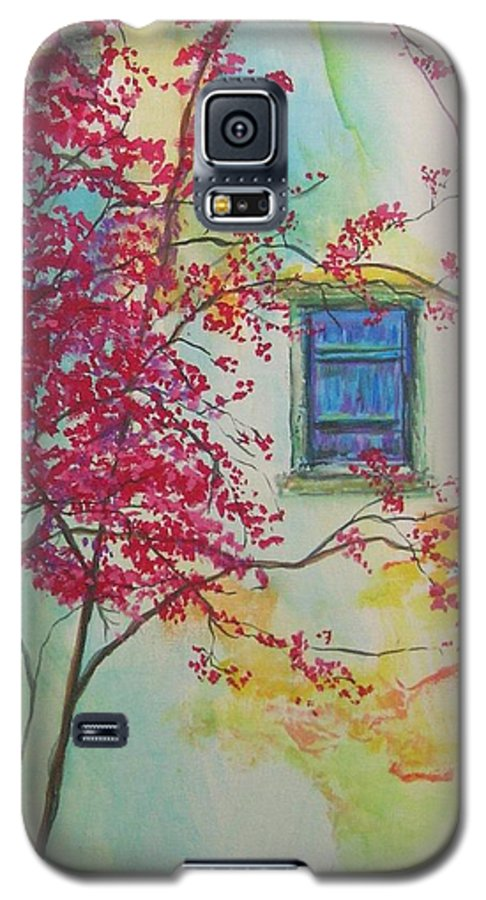 Bouganvilla Galaxy S5 Case featuring the painting Bouganvilla And Blue Shutter by Lizzy Forrester
