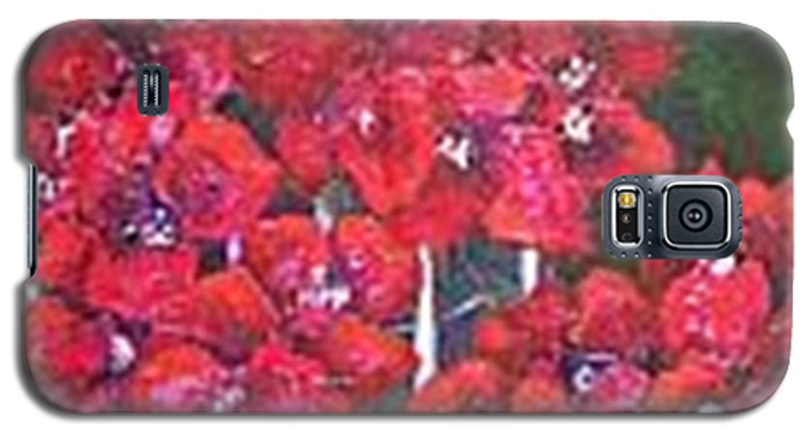 Galaxy S5 Case featuring the painting Bounganvillia On Fence by Carol P Kingsley