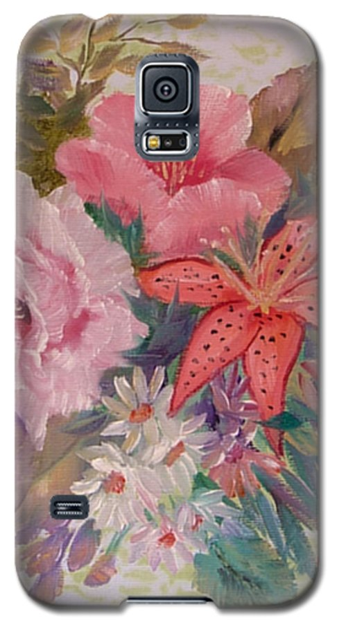 Rose Galaxy S5 Case featuring the painting Bouquet by Quwatha Valentine