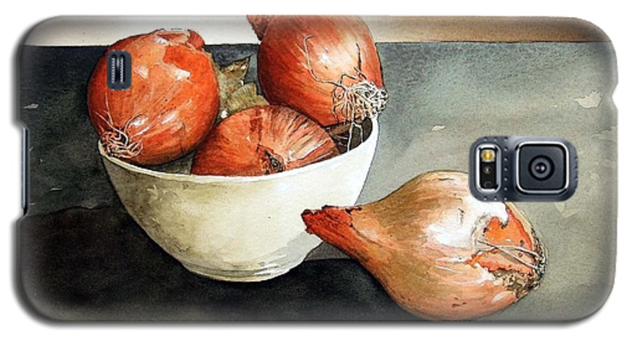 Still Life Galaxy S5 Case featuring the painting Bowl Of Onions by Paul Dene Marlor