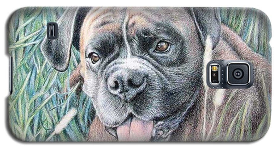 Dog Galaxy S5 Case featuring the drawing Boxer Yosi by Nicole Zeug