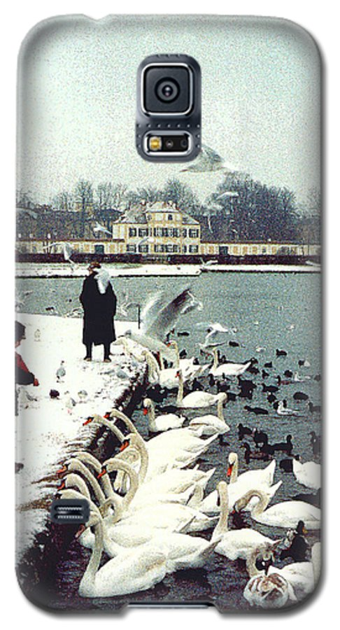 Swans Galaxy S5 Case featuring the photograph Boy Feeding Swans- Germany by Nancy Mueller