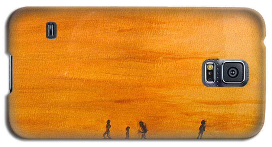 Boys Galaxy S5 Case featuring the painting Boys At Sunset by Ian MacDonald