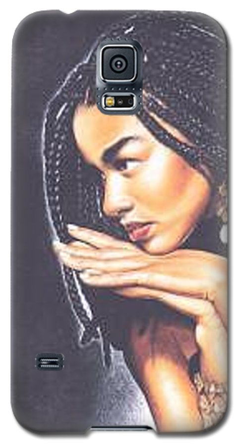 Woman W/folded Hands Galaxy S5 Case featuring the drawing Braided Beauty by Charlene Cooper