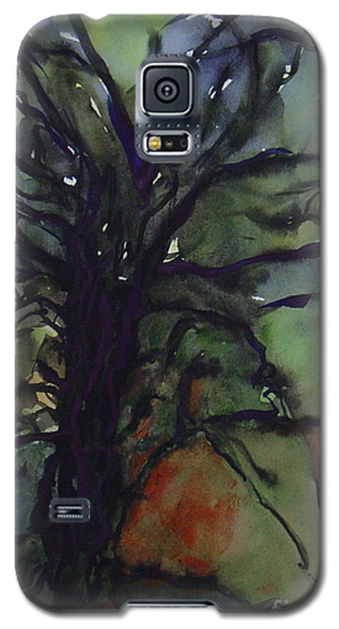 Tree Landscape Abstract Watercolor Original Blue Green Galaxy S5 Case featuring the painting Branching by Leila Atkinson