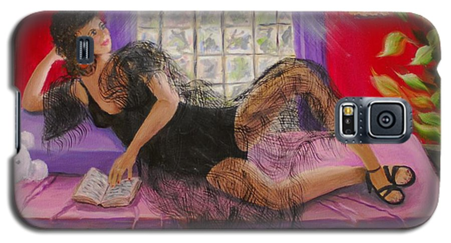 Woman Galaxy S5 Case featuring the painting Break Between Clients by Quwatha Valentine