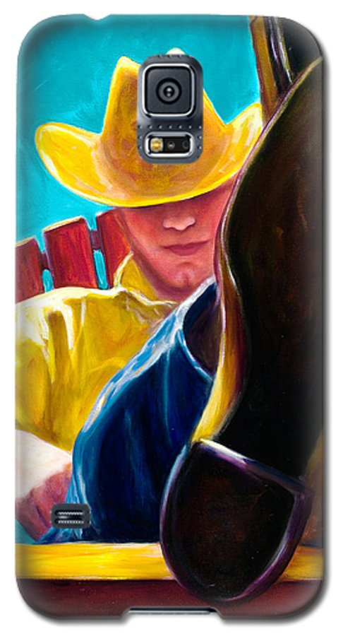 Western Galaxy S5 Case featuring the painting Break Time by Shannon Grissom