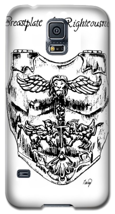 Breastplate Galaxy S5 Case featuring the drawing Breastplate Of Righteousness by Maryn Crawford