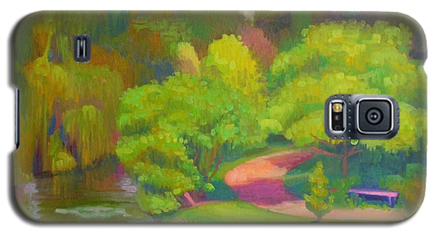 Landscape Galaxy S5 Case featuring the painting Bright Hazy Day Chicago Botanical Gardens by David Dozier
