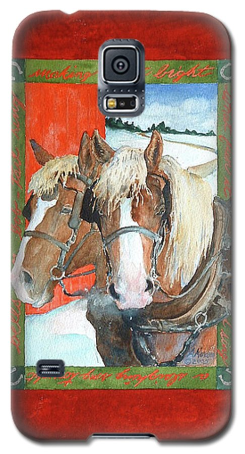 Horses Galaxy S5 Case featuring the painting Bright Spirits by Christie Michelsen
