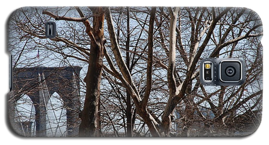 Architecture Galaxy S5 Case featuring the photograph Brooklyn Bridge Thru The Trees by Rob Hans