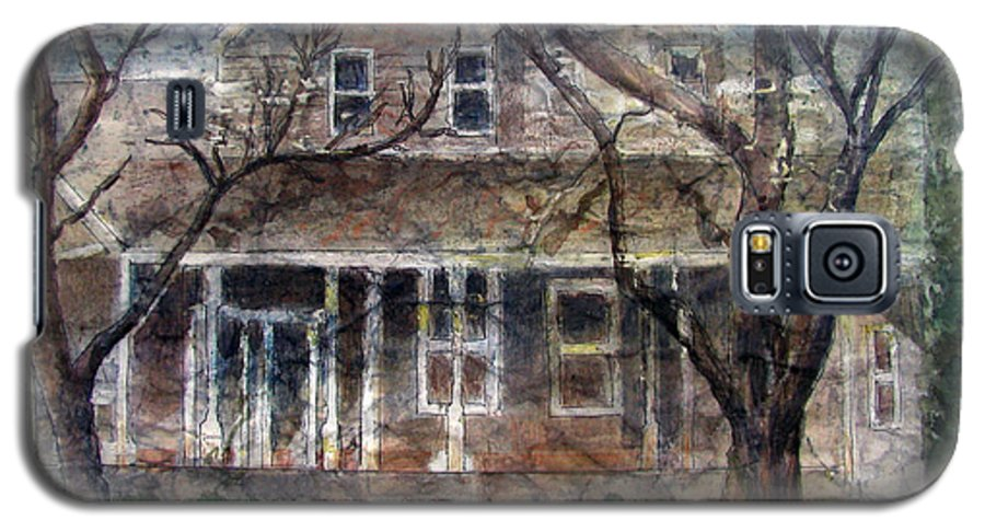 House Galaxy S5 Case featuring the mixed media Brown Batik House by Arline Wagner