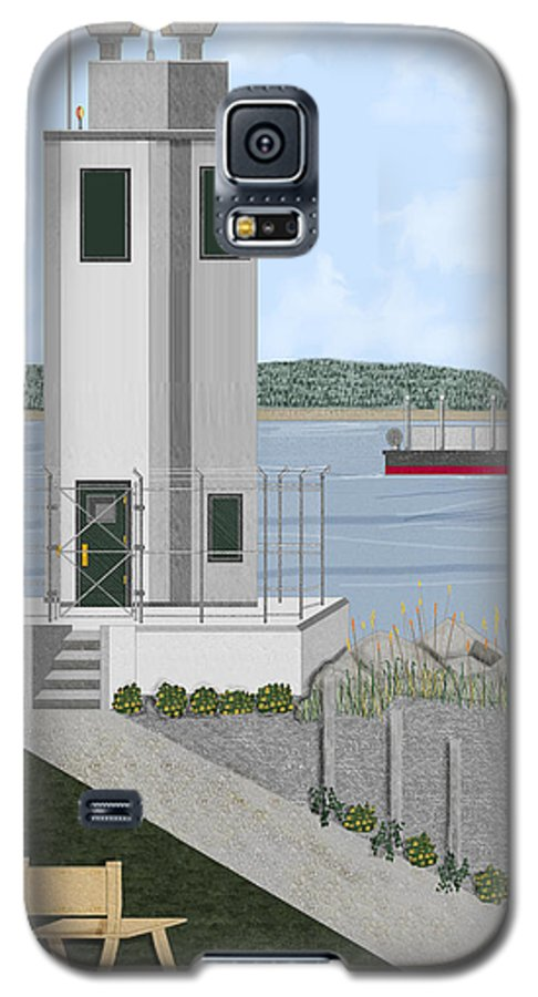 Lighthouse Galaxy S5 Case featuring the painting Browns Point Lighthouse On Commencement Bay by Anne Norskog
