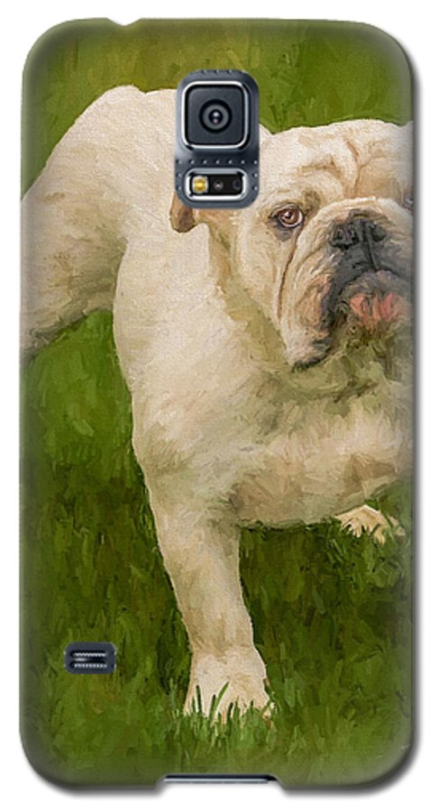 Dog Galaxy S5 Case featuring the painting Bruce The Bulldog by David Wagner