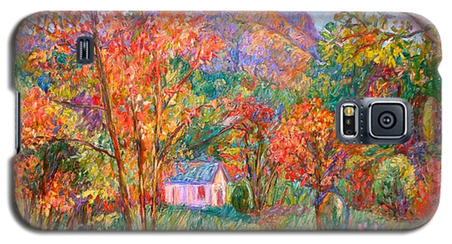 Landscape Galaxy S5 Case featuring the painting Buffalo Mountain In Fall by Kendall Kessler