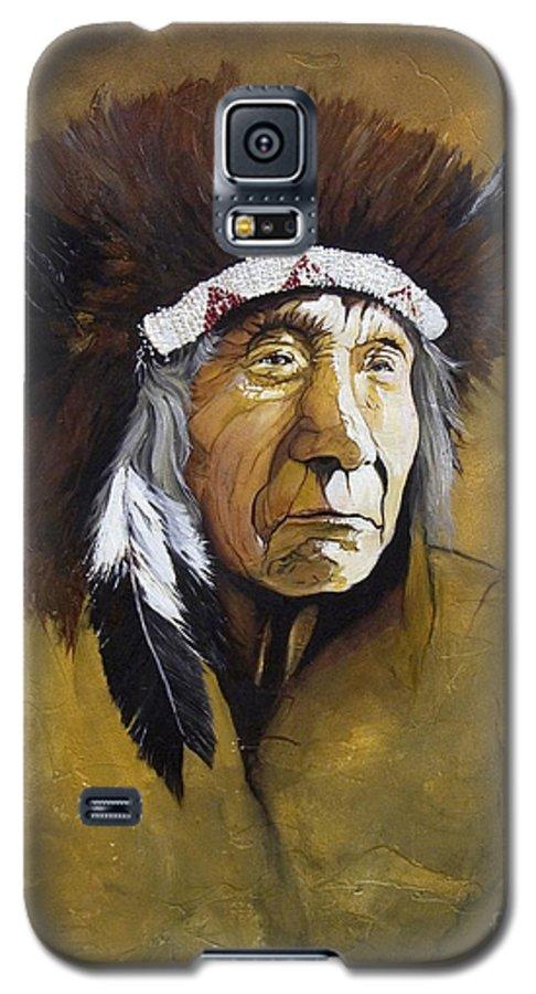 Shaman Galaxy S5 Case featuring the painting Buffalo Shaman by J W Baker