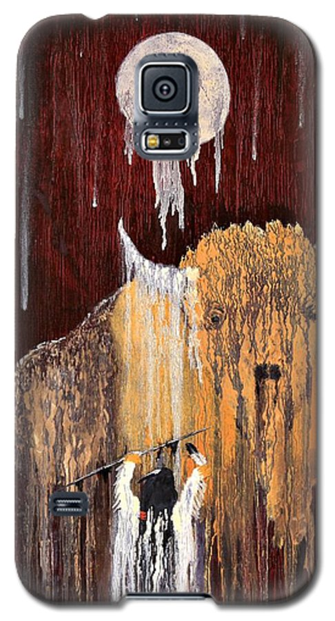Native Art Galaxy S5 Case featuring the painting Buffalo Spirit by Patrick Trotter