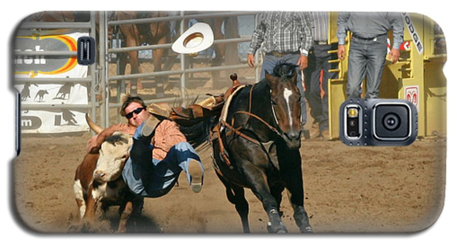 Cowboy Galaxy S5 Case featuring the photograph Bulldogging At The Rodeo by Christine Till