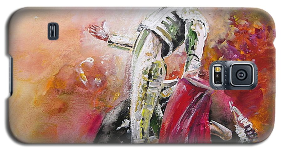 Animals Galaxy S5 Case featuring the painting Bullfight 24 by Miki De Goodaboom