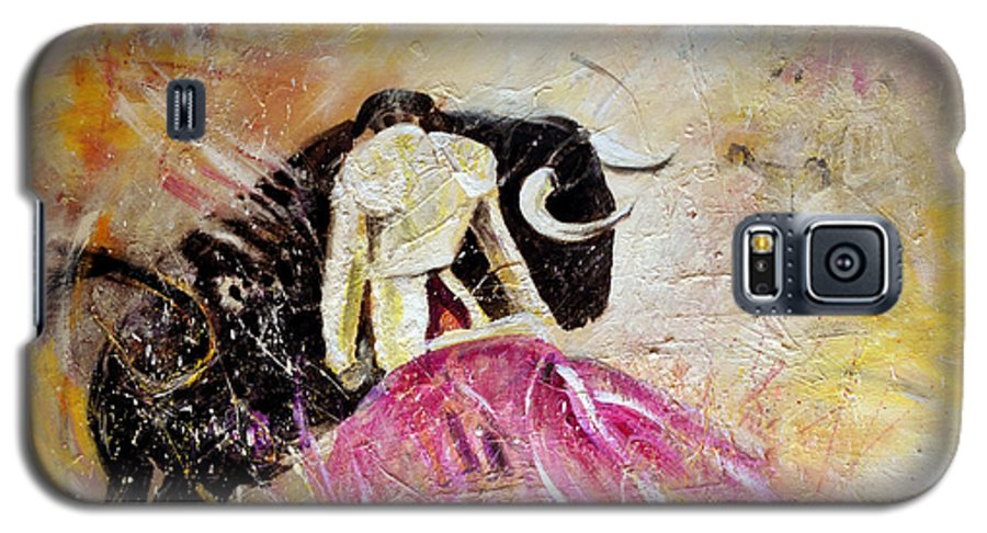 Animals Galaxy S5 Case featuring the painting Bullfight 74 by Miki De Goodaboom