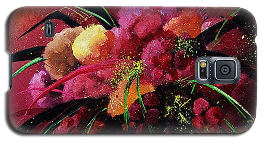 Flowers Galaxy S5 Case featuring the painting Bunch Of Red Flowers by Pol Ledent