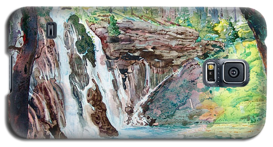 Watercolor Galaxy S5 Case featuring the painting Burney Falls by John Norman Stewart