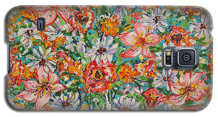 Flowers Galaxy S5 Case featuring the painting Burst Of Flowers by Leonard Holland