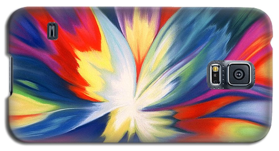 Abstract Galaxy S5 Case featuring the painting Burst Of Joy by Lucy Arnold
