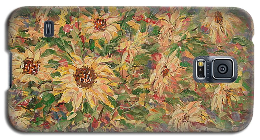 Flowers Galaxy S5 Case featuring the painting Burst Of Sunflowers. by Leonard Holland