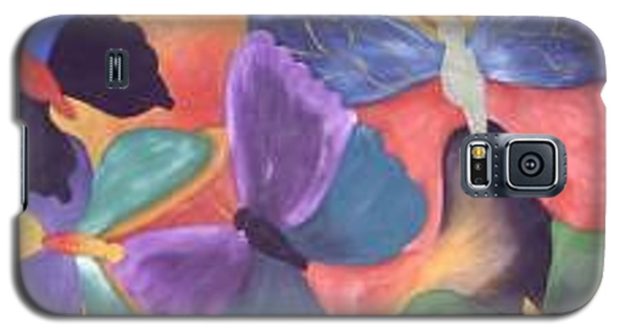 Butterfly Painting With Focus On Colors Galaxy S5 Case featuring the painting Butterfly Painting by M Brandl