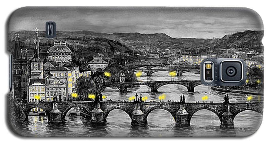 Prague Galaxy S5 Case featuring the painting Bw Prague Bridges by Yuriy Shevchuk