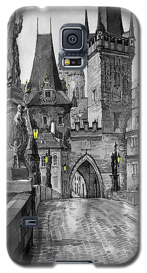 Prague Galaxy S5 Case featuring the painting Bw Prague Charles Bridge 02 by Yuriy Shevchuk