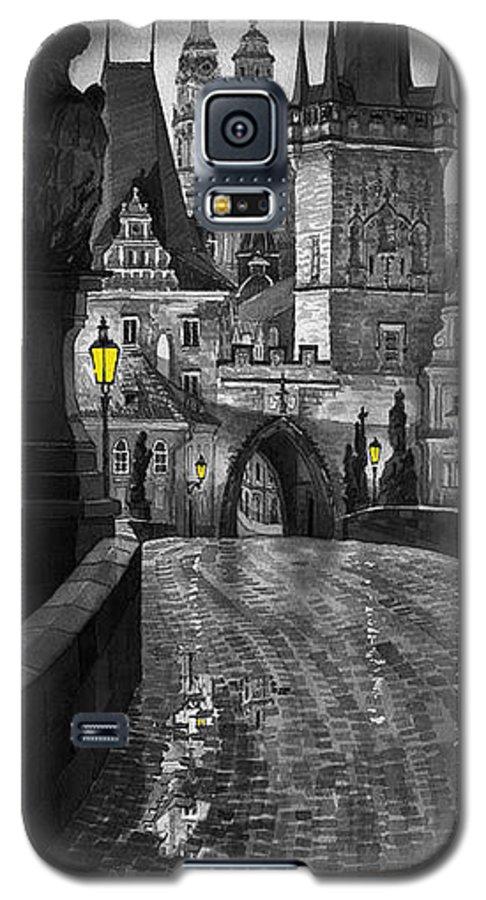Prague Galaxy S5 Case featuring the painting Bw Prague Charles Bridge 03 by Yuriy Shevchuk