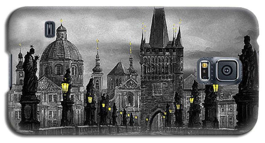 Prague Galaxy S5 Case featuring the painting Bw Prague Charles Bridge 04 by Yuriy Shevchuk