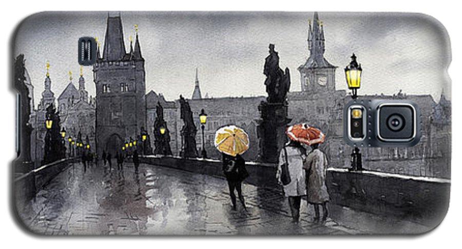 Prague Galaxy S5 Case featuring the painting Bw Prague Charles Bridge 05 by Yuriy Shevchuk
