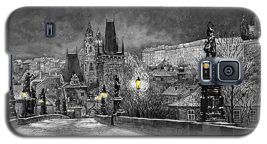Prague Galaxy S5 Case featuring the painting Bw Prague Charles Bridge 06 by Yuriy Shevchuk