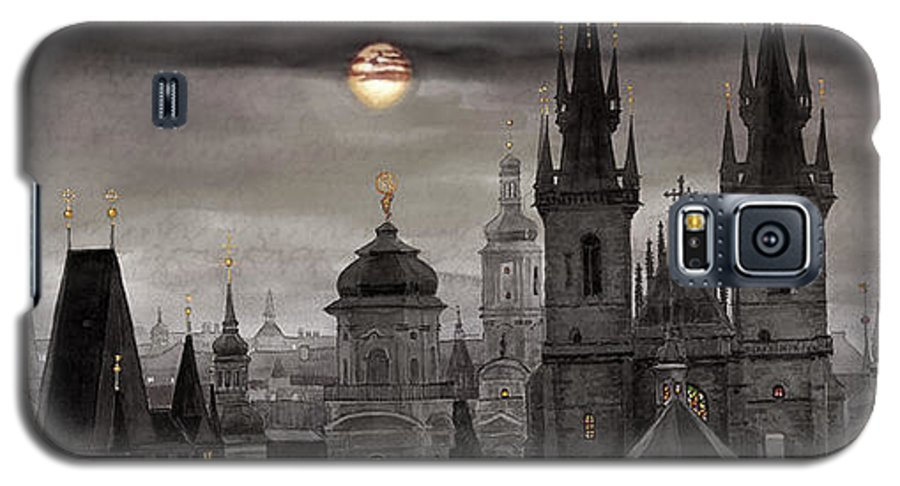 Cityscape Galaxy S5 Case featuring the painting Bw Prague City Of Hundres Spiers by Yuriy Shevchuk