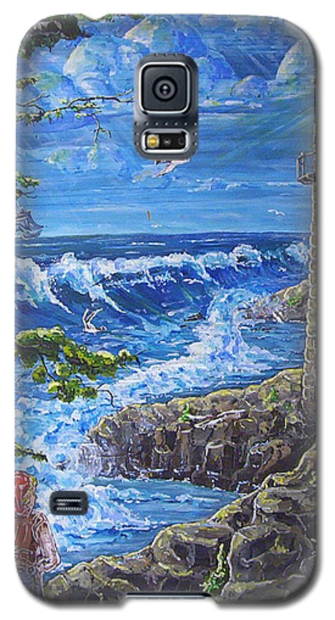 Seascape Galaxy S5 Case featuring the painting By The Sea by Phyllis Mae Richardson Fisher
