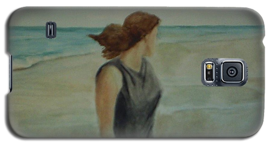 Ocean Galaxy S5 Case featuring the painting By The Sea by Sheila Mashaw
