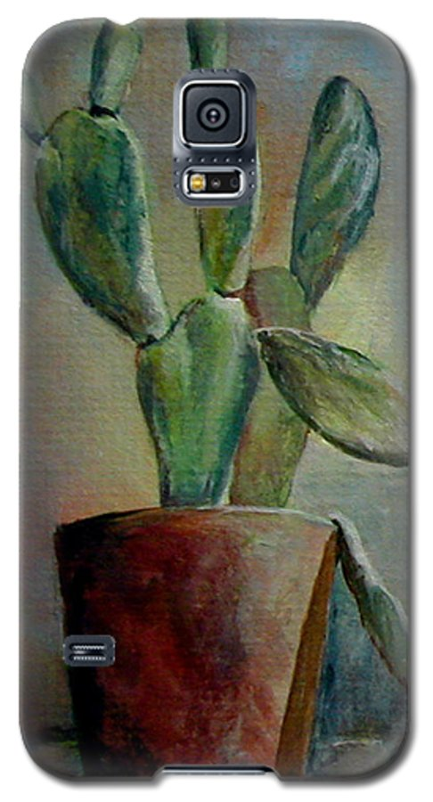 Flower Galaxy S5 Case featuring the painting Cactus 1 by Muriel Dolemieux