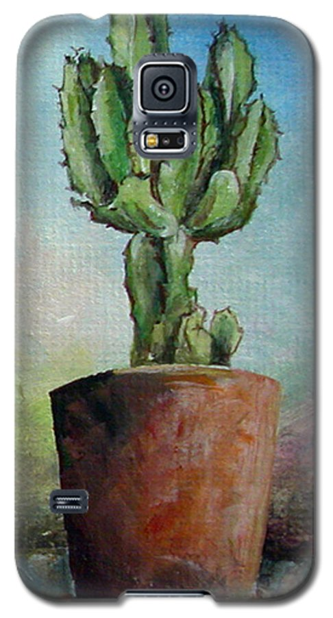 Flower Galaxy S5 Case featuring the painting Cactus 3 by Muriel Dolemieux